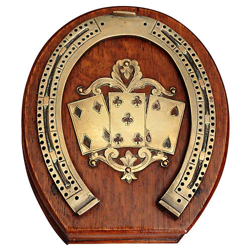 Antique Equestrian Cribbage Board