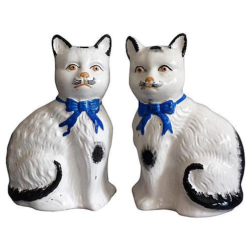C. 1900 Staffordshire Cats, Pair