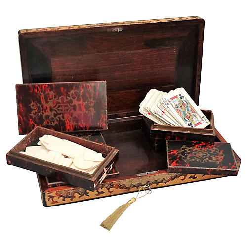 19th-C. French Playing Cards Box w/ Key
