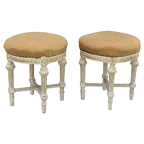 French Louis XVI-Style Stools, Pair