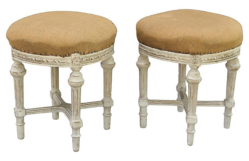 French Louis XVI-Style Stools, Pair