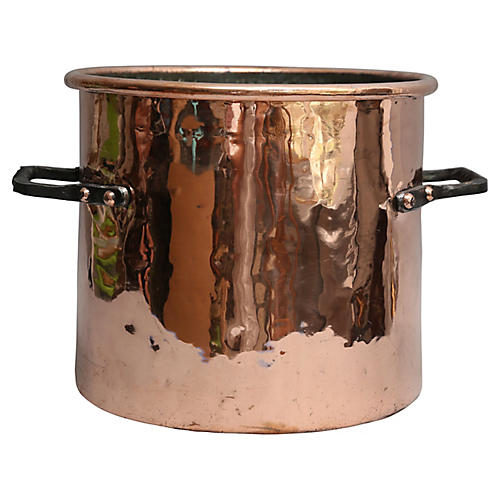 19th-C. Copper Stock Pot