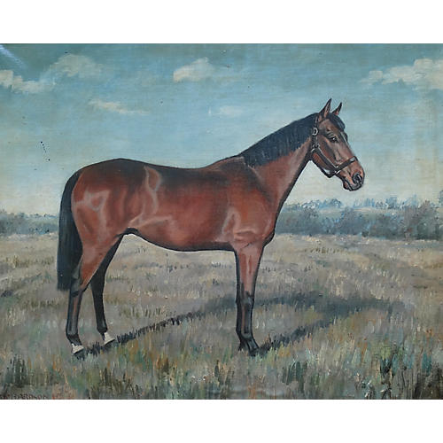 Antique Bay Horse Painting, E Richardson
