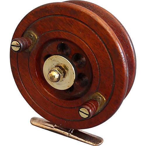 Early English Walnut Fishing Reel