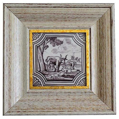 19th-Century Dutch Delft Polychrome Tile