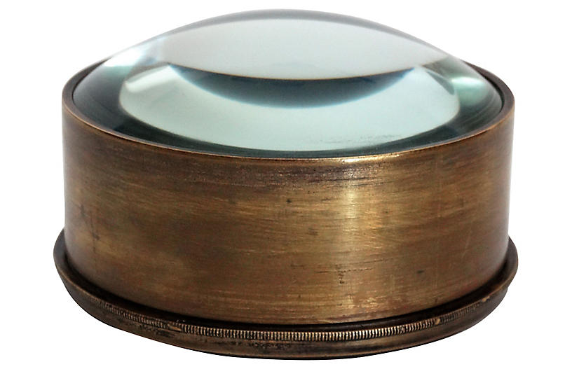 Paper Weight Magnifying Glass Brass Antique Vintage Style Table Decor