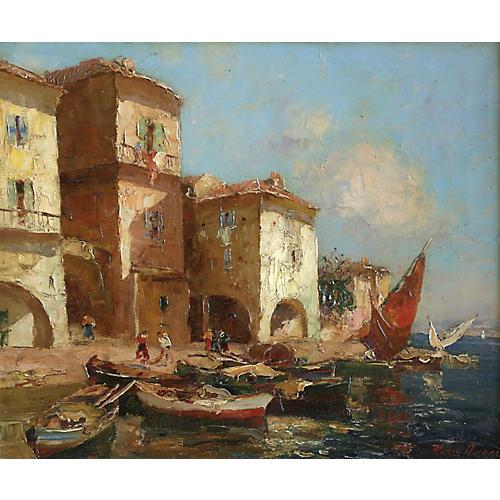 Martigues Harbor Scene by M. Ameglio
