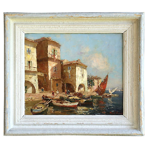 Martigues Harbor Scene by M. Ameglio