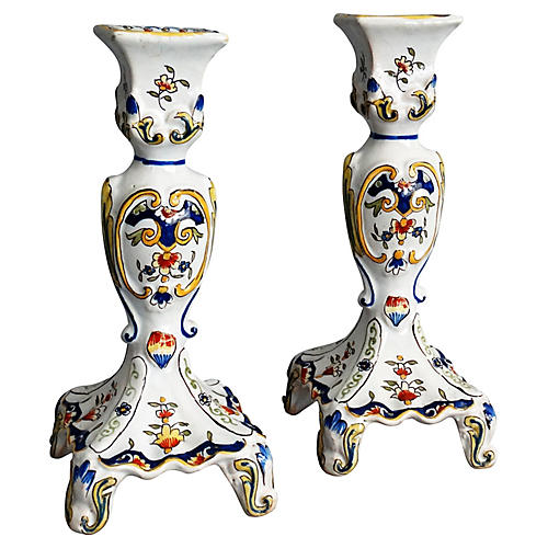 French Faience Candlesticks, Pair