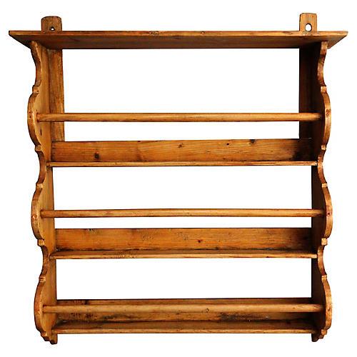 Antique English Pine Plate Rack