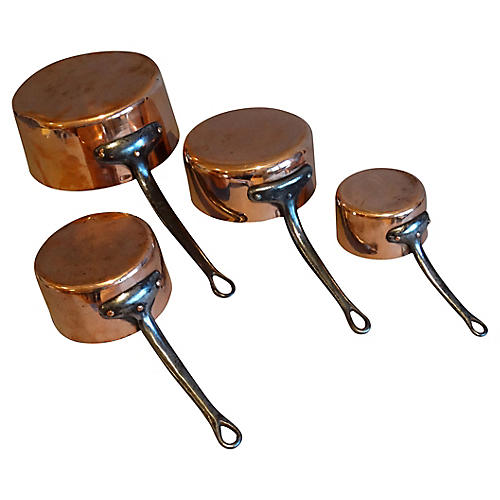 Heavy English Copper Pans, Set of 4