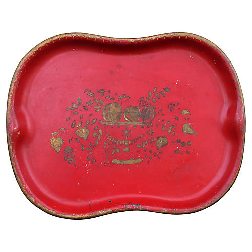 Hand-Painted Red Tole Tray