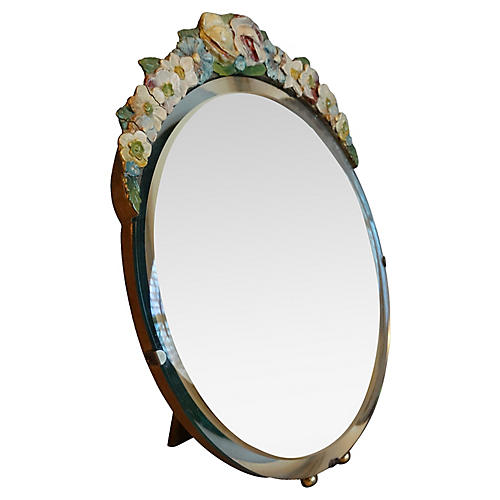 English Edwardian Barbola Vanity Mirror