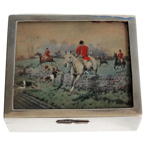 Sterling Silver Equestrian Table Box