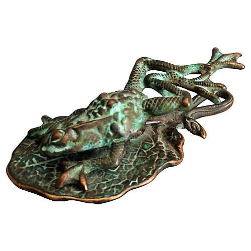 Verdigris Bronze Frog Paper Clip