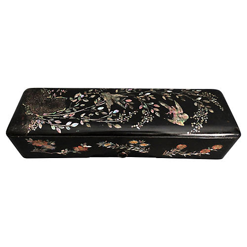19th-C. Ebonized Mother-of-Pearl Box