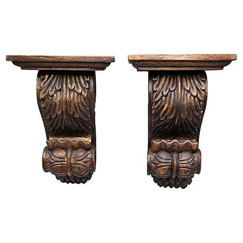 Carved Walnut Wall Brackets, Pair