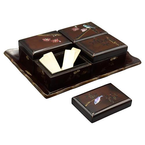 Antique Papier-Mâché Games Box