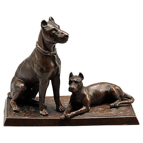 French Bronze Dog Statue, C. 1915