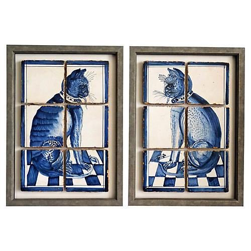 Antique Delft Cat Tile Plaques Set of 2