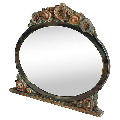 Antique English Barbola Vanity Mirror