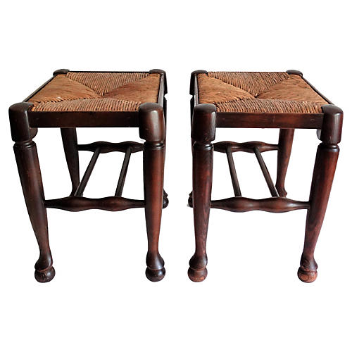Early English Oak Footstools, Pair