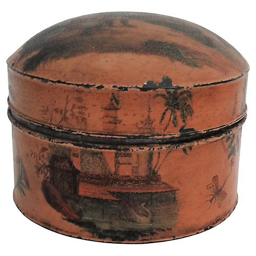Antique Chinoiserie Tole Tea Canister