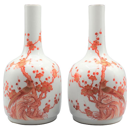 Chinese Famille Rose Vases, Pair