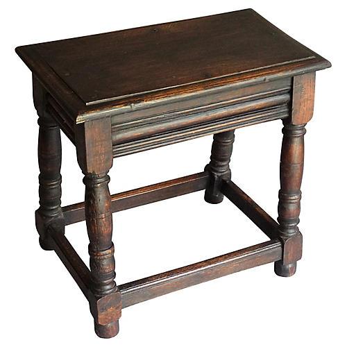 Antique English Oak Joint Stool