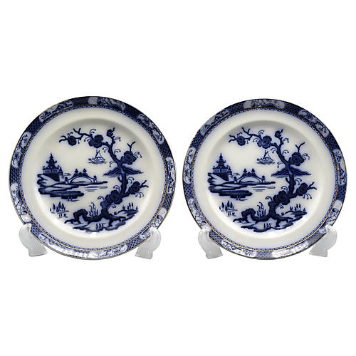 Antique Pagodo Flow Blue Plates, Pair