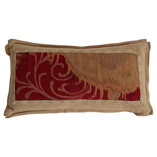 Antique Aubusson Fragment Lumbar Pillow