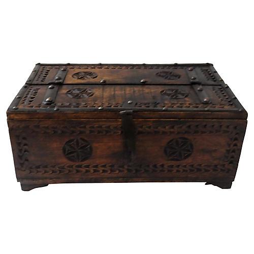 Carved Teak & Metal Box, Lockable