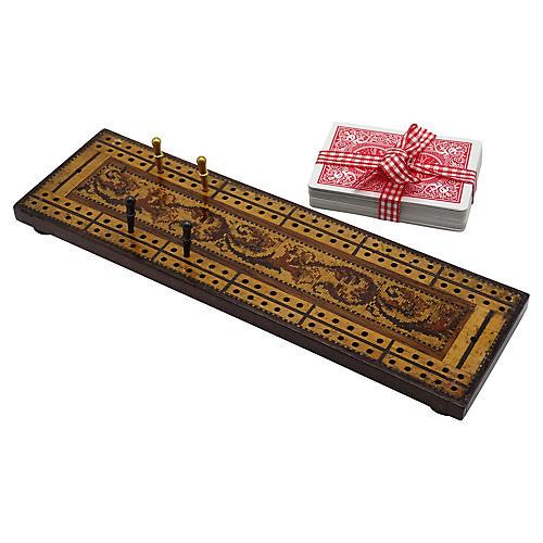 Antique English Tunbridge Cribbage Game