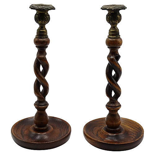 19th-C. Oak Twist Candlesticks, Pair