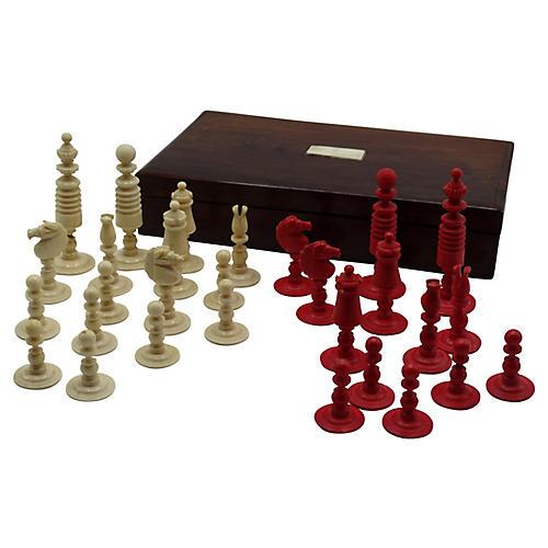 Antique Boxed Chess Set