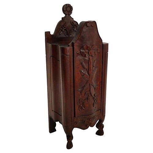 19th-C. French Walnut Salt Box Cabinet
