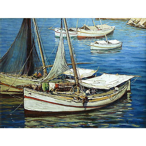 Boats Oil on Canvas, Gustave Vidal