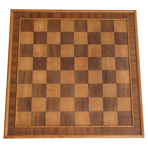 Antique Chess & Checker Gameboard