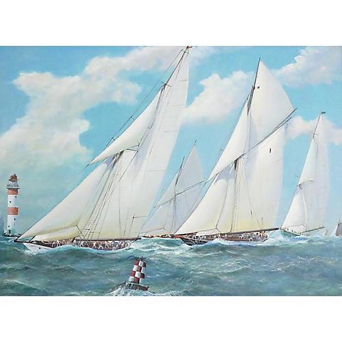 Nautical Yacht Painting, M Whitehand