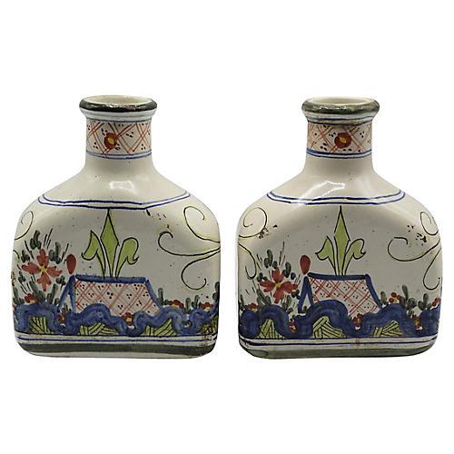 Antique Italian Faience Flasks, Pair