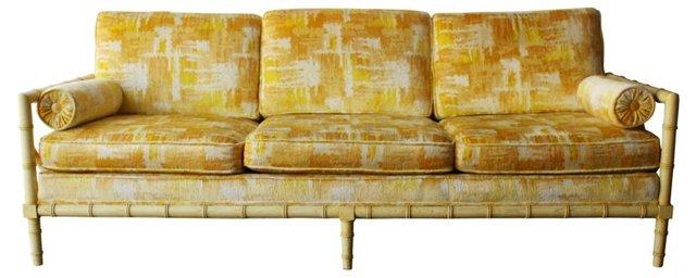 Faux-Bamboo Sofa w/ Cushions
