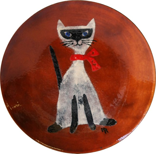 Enamel Cat Plate