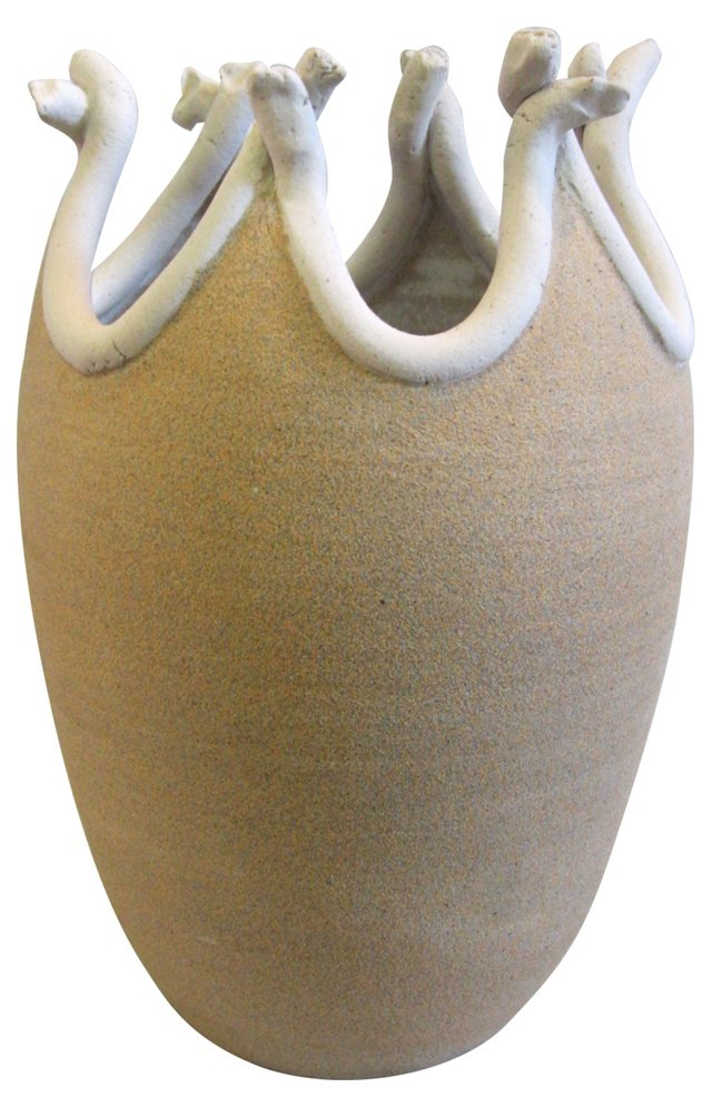 Hand-Crafted Earthenware Vase