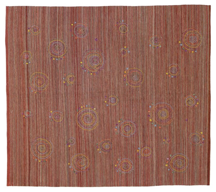 "Kilim Embroidered Suzani, 8'6"" x 9'6"""