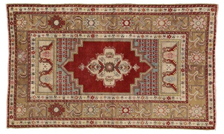 """Antique Turkish Oushak, 3'7"""" x 5'10"""""""