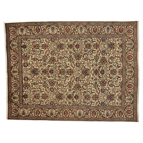 """Persian Tabriz Floral Rug, 9'7"""" x 12'8"""""""