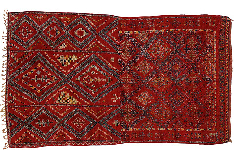 Red Berber Moroccan Rug, 6' x 10'7