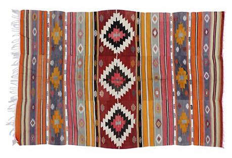 Tribal Turkish Kilim Rug, 5'6 x 8'2