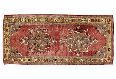 Turkish Oushak Gallery Rug, 5'1