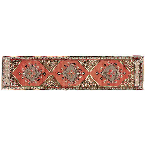 "Antique Oushak Runner, 3'6"" x 10'2"""